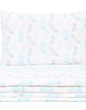 Laste voodipesukomplekt roosad ja sinised suled